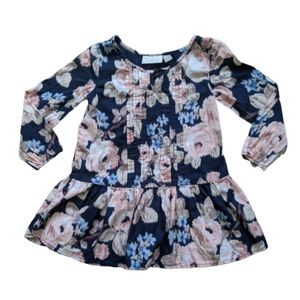 Toddler 3T Navy Floral Peplum Long Sleeve Blouse